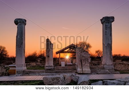 Sunset over the ruins of the ancient town Nikopolis ad Istrum
