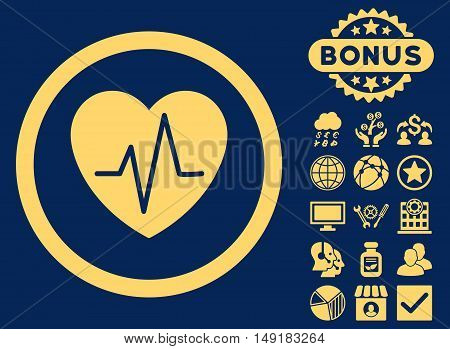 Heart Ekg icon with bonus pictures. Vector illustration style is flat iconic symbols yellow color blue background.
