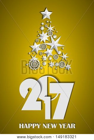 Christmas Tree Made Of Stars And Snowflakes On Gold Background. New Year 2017 Concept. Vector Illust