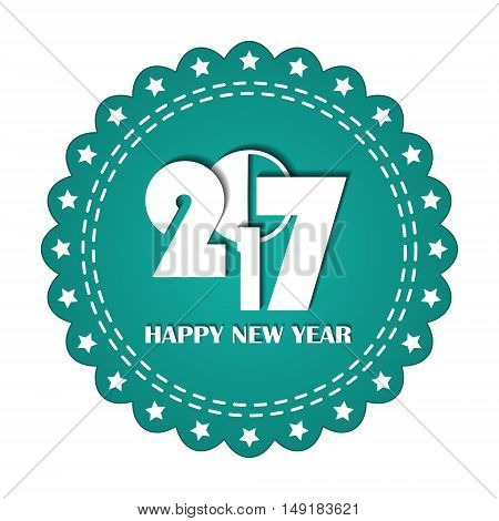 Embroidered Turquoise Round Ribbon Stamp Isolated On White. New Year 2017 Concept. Can Be Used For B