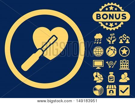 Heart Tuning icon with bonus elements. Vector illustration style is flat iconic symbols yellow color blue background.
