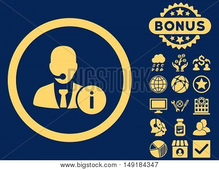 Help Desk icon with bonus images. Vector illustration style is flat iconic symbols yellow color blue background.