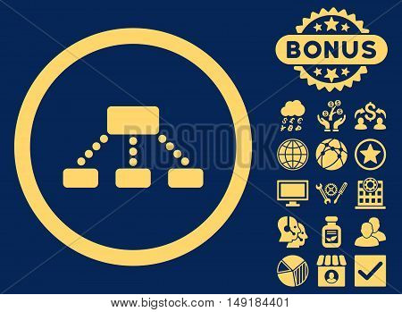 Hierarchy icon with bonus symbols. Vector illustration style is flat iconic symbols yellow color blue background.