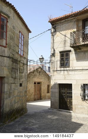 Stone street in the old part of Cambados in Pontevedra Galicia Spain.