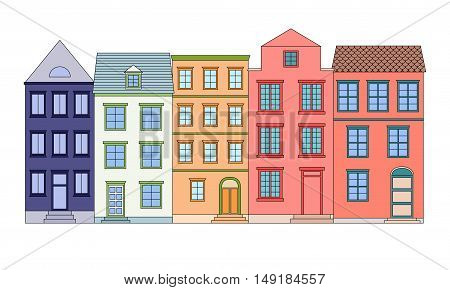 Row of bright color houses, vector illustration