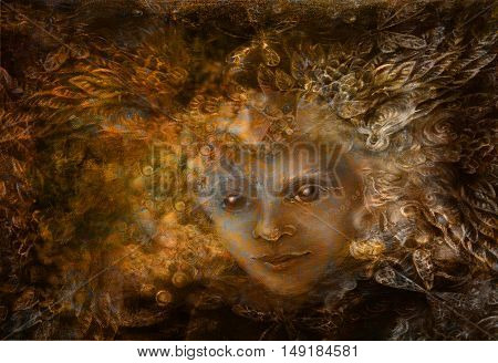 fairy being with crown of feathers, iluustration in brown sepia tones.