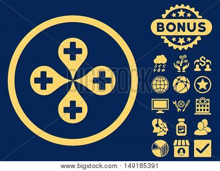 Hospital Map Markers icon with bonus images. Vector illustration style is flat iconic symbols yellow color blue background.