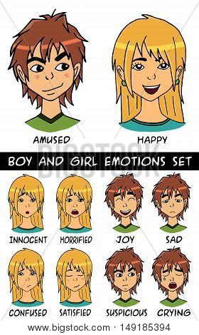 game character boy and girl emotions set. Vector illustration. Made with love