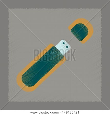 flat shading style icon of flash drive