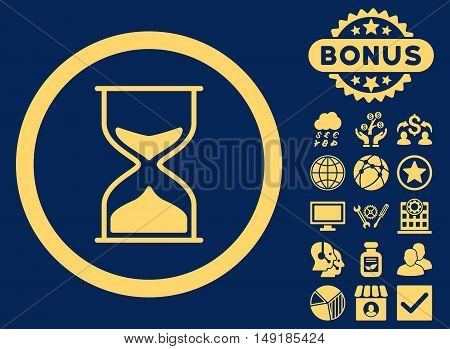 Hourglass icon with bonus pictogram. Vector illustration style is flat iconic symbols yellow color blue background.