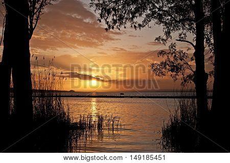 Beautiful landscape with sunset over Burgas lake, Bulgaria