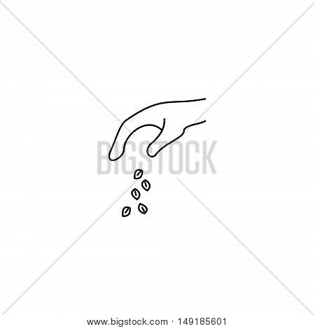 Illustration of scattering seeds. Icon of outline style