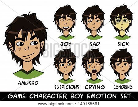 game character boy emotions set vector illustration. Made with love