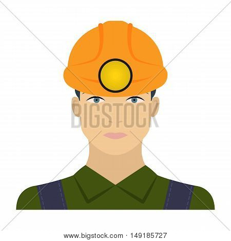 Miner icon in cartoon style isolated on white background. Mine symbol vector illustration.