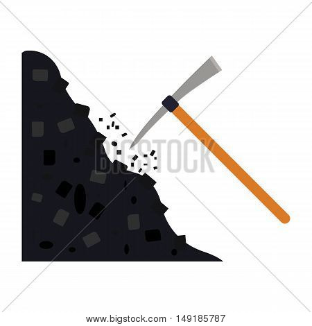Pickaxe icon in cartoon style isolated on white background. Mine symbol vector illustration.