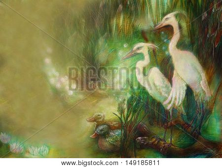 pair of crane birds on lake with reeds, illustration and place for text.