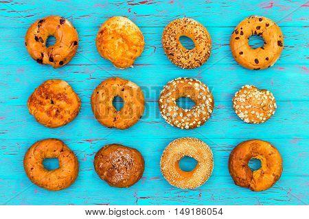 Display Of Twelve Assorted Freshly Baked Bagels