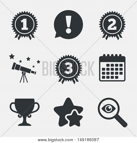 First, second and third place icons. Award medals sign symbols. Prize cup for winner. Attention, investigate and stars icons. Telescope and calendar signs. Vector