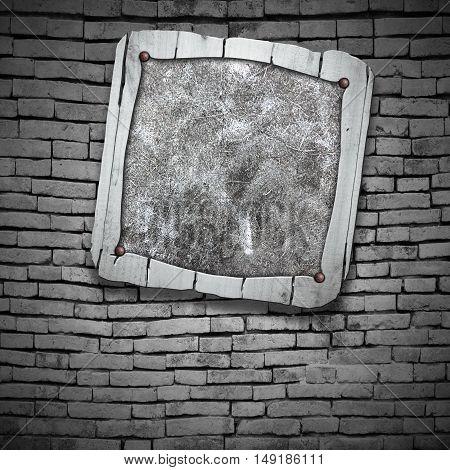 rustic wood frame on brick wall. 3d illustration background.