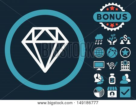 Diamond icon with bonus design elements. Vector illustration style is flat iconic bicolor symbols blue and white colors dark blue background.