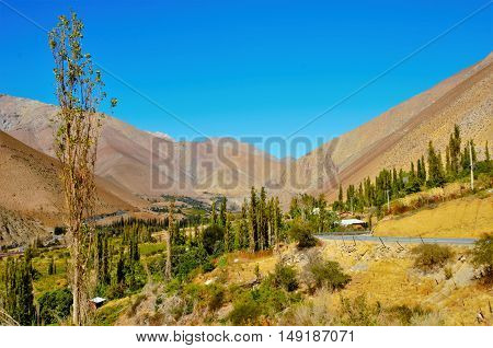 Long shot of the Elqui Valley with a street and a blue sky in Chile, South America