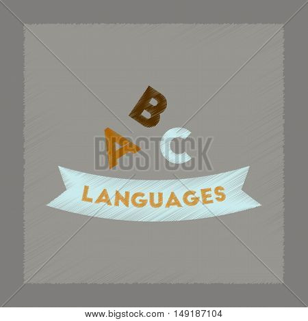 flat shading style icon of letters languages