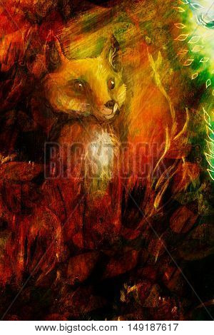 Orange fox sitting in grass in sun rays, colorful painting, abstract background