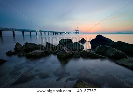 Before sunrise in Burgas bay (view of Burgas bridge)