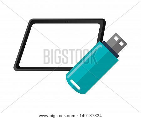flat design tablet and usb drive  icon vector illustration