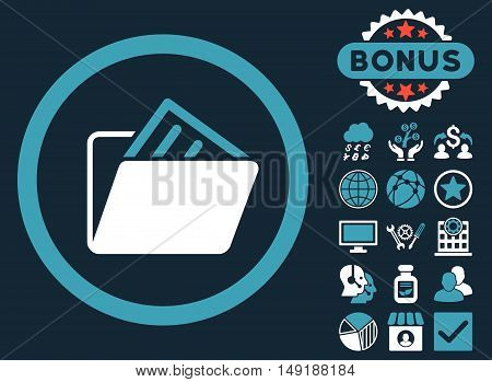 Document Folder icon with bonus images. Vector illustration style is flat iconic bicolor symbols blue and white colors dark blue background.