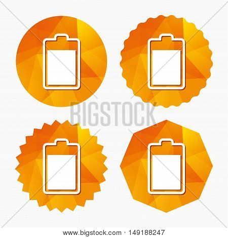 Battery level sign icon. Electricity symbol. Triangular low poly buttons with flat icon. Vector