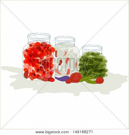 Vector illustration of three various preserved food