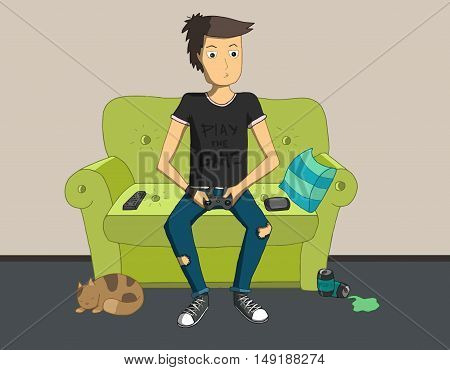Gamer sitting at home and playing video games