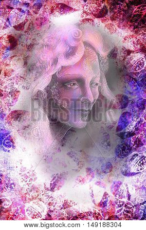 woman fairy portrait, illustration collage with ornaments.