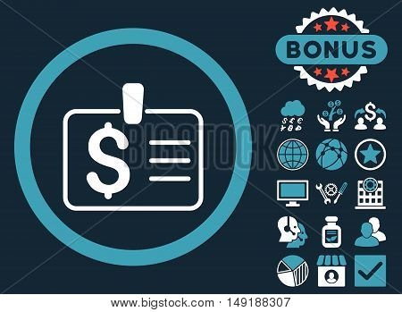 Dollar Badge icon with bonus design elements. Vector illustration style is flat iconic bicolor symbols blue and white colors dark blue background.
