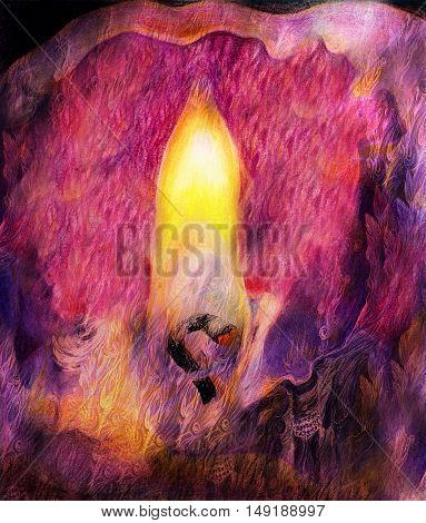 graphic illustration of candle flame and candlewick closeup.