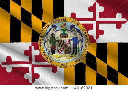 Flag of Maryland is a state of United States. 3D illustration