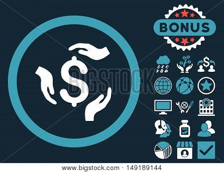 Dollar Care Hands icon with bonus pictures. Vector illustration style is flat iconic bicolor symbols blue and white colors dark blue background.