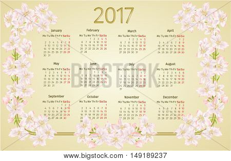 Calendar 2017 with apple tree blossoms vintage vector illustration