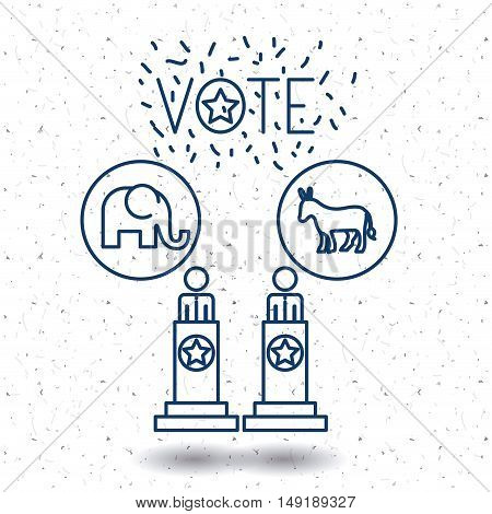 Donkey and elephant icon. Vote election nation and government theme. Silhouette and isolated design. Vector illustration