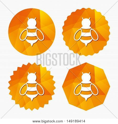 Bee sign icon. Honeybee or apis with wings symbol. Flying insect. Triangular low poly buttons with flat icon. Vector