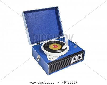 Small vintage record player isolated with clipping path.