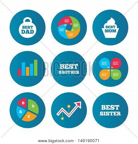 Business pie chart. Growth curve. Presentation buttons. Best mom and dad, brother and sister icons. Weight and cupcake signs. Award symbols. Data analysis. Vector