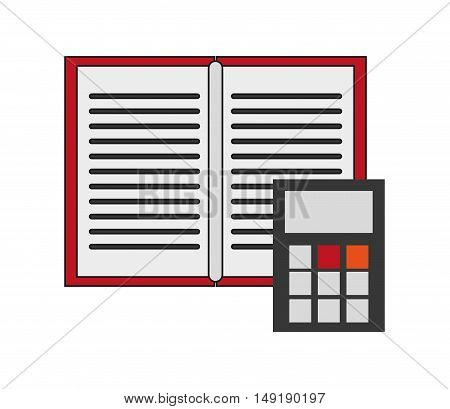 flat design open book and calculator  icon vector illustration
