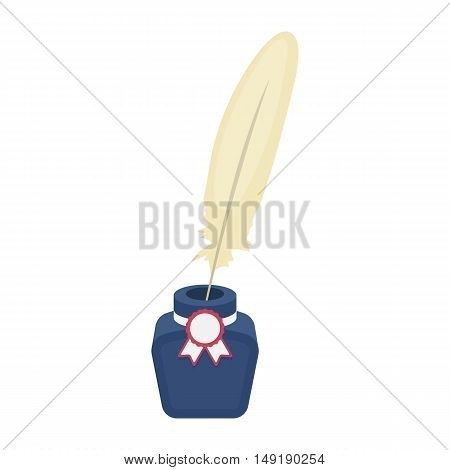 Quill in inkwell icon in cartoon style isolated on white background. Patriot day symbol stock vector illustration.