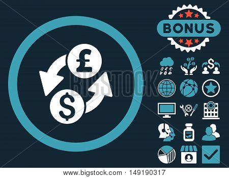 Dollar Pound Exchange icon with bonus pictogram. Vector illustration style is flat iconic bicolor symbols blue and white colors dark blue background.