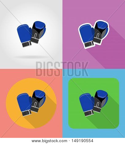 boxing gloves flat icons vector illustration isolated on background