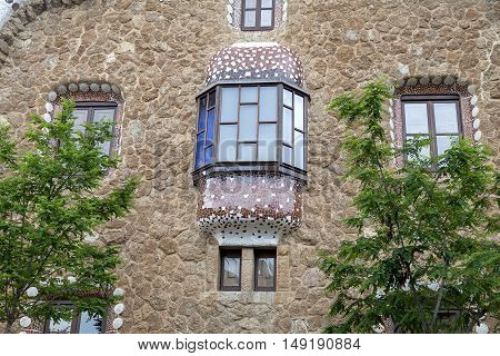 Gingerbread house by Gaudi in Park Guell Barcelona Spain