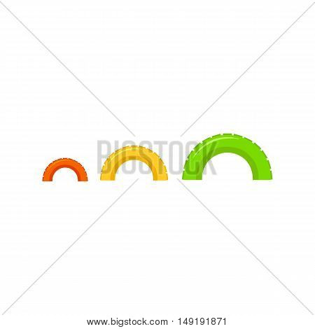 Tire on playgarden icon in cartoon style isolated on white background. Play garden symbol vector illustration.