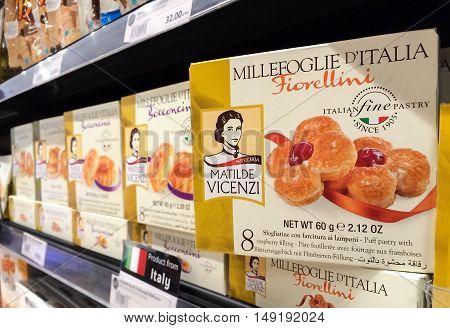BANGKOK Thailand - September 13 2016: Box of Matilde Vicenzi Millefoglie D'Italia Puff Pastries with raspberry filling on Shelf in Supermarket MILLEFOGLIE D'ITALIA puff pastries are the symbol of Vicenzi's fine Italian pastry tradition.